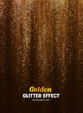 Magic Glitter Background in gold Color. Poster Backdrop with Shine Elements. Stock Images