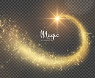 Magic glittering trail background. Vector EPS10. Magic glittering star with shiny dust trail holiday Christmas background. Vector EPS10 Royalty Free Stock Images