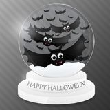 Magic globe with flying bats. Halloween design. Vector illustration Royalty Free Stock Photography
