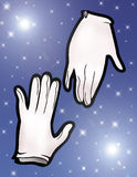 Magic gloves. Illustration of a pair of magic gloves - Starred background Royalty Free Stock Images