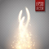 Magic glow star light effect with golden blur curved lines. Royalty Free Stock Photos