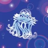 Magic glowing jellyfish underwater. Undersea world. Fairy tale illustration for inspiration royalty free illustration