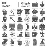 Magic glyph SIGNED icon set, fantasy symbols collection, vector sketches, logo illustrations, wizard signs solid vector illustration