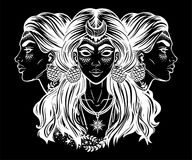 Magic goddess Hecate. Blind magic goddess Hecate. Triple faced beautiful woman with long hair, star moon. Bohemian, wiccan divine girl. Fantasy, spirituality Stock Images