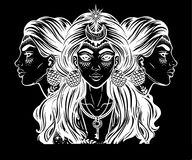Magic godess Hecate. Triple faced beautiful woman with long hair, key and moon. Bohemian, wiccan divine girl. Fantasy, spirituality, Greek mythology, tattoo Stock Image