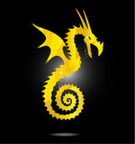 Magic gold asia dragon isolated Stock Image