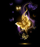 Magic gold butterflies Stock Photos