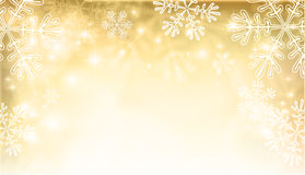 Magic gold Christmas  background with snowflakes Royalty Free Stock Image