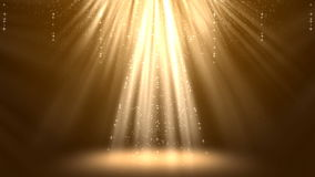 Magic Gold Light Rays with Particles Animation Background. royalty free illustration