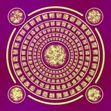 Magic gold runes round symbol with four rings on purple background Stock Photography
