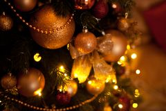 Magic golden christmas or new year background stock images