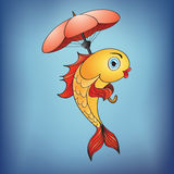 Magic golden fish with umbrella Royalty Free Stock Image