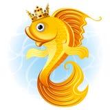 Magic goldfish. With a crown Stock Photos