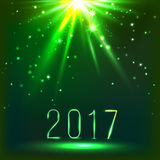 Magic green Christmas background with top light and 2017. vector Royalty Free Stock Photos