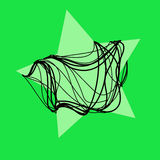 Magic  green  star with black rope background Stock Photos