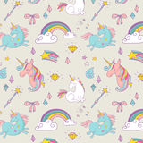 Magic hand drawn pattern - unicorn and fairy Stock Images