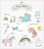 Magic hand drawn set - unicorn, rainbow and fairy Royalty Free Stock Photo