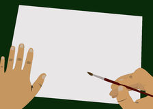 Magic hands. Artist begins to draw beautiful picture on green table Royalty Free Stock Photo