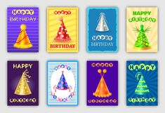 Magic Happy Birthday Cards with Cone Shape Hats. Vector posters set with bright caps on color backdrop, anniversaries and holiday celebration headwear vector illustration
