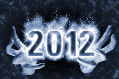 Magic Happy New Year Spell 2012. Happy New Year background with effect of cast magic spell, blue energy flames wrapping around digits 2012 in the dark glowing Vector Illustration