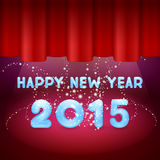 Magic Happy New Year on stage. 2015 and red background Stock Photos