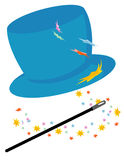 Magic hat. Vector illustration of magic hat with magic wand and stars isolated on white Stock Image