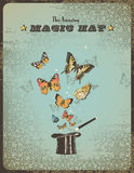 Magic hat. Vintage magic placard with magic hat, wand and butterflies Royalty Free Stock Photography