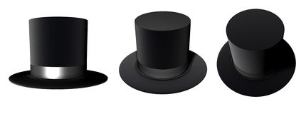 Magic Hat. Three 3D Magician hats from different angles placed isolated on a white background Royalty Free Stock Photo