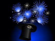 Magic hat. Blue fireworks in black magic hat Stock Photo