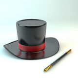 Magic hat. 3d rendering of a magical hat with cane Royalty Free Stock Images