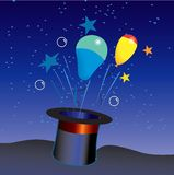 Magic hat. Balloons and stars coming out of a magic hat Stock Photography