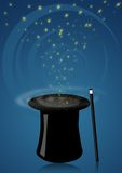 Magic hat. Illustration of a magic hat with wand for magician shows Stock Image