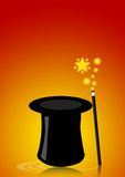 Magic hat. Illustration of a magic hat with wand for magician shows Royalty Free Stock Images