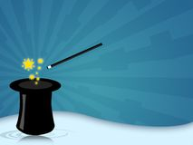 Magic hat. Illustration of a magic hat with wand for magician shows Stock Photography