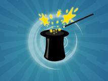 Magic hat. Illustration of a magic hat with wand for magician shows Royalty Free Stock Image