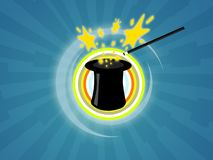 Magic hat. Illustration of a magic hat with wand for magician shows Royalty Free Stock Photos