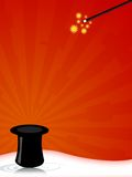 Magic hat. Illustration of a magic hat with wand for magician shows stock illustration