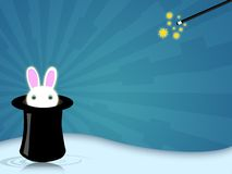 Magic hat. Illustration of a magic hat with bunny for magician shows Stock Image