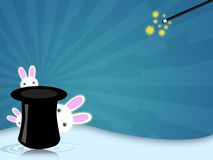 Magic hat. Illustration of a magic hat with wand for magician shows royalty free illustration