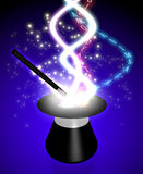 Magic Hat. Colorful background of a magic cylinder and a wand Stock Photography