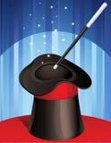 Magic hat. Vector illustration - magic hat and magic wand Royalty Free Stock Images