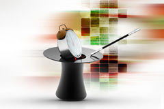 Magic hat  with alarm clock Royalty Free Stock Photography