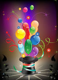 Magic hat and balloons Stock Image