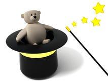 Magic hat and bear. 3d illustration of magic hat, wand and bear Stock Photos