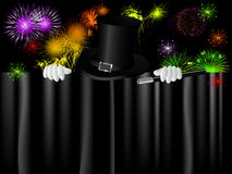 Magic hat. Black magic cylinder and magic hand against firework Royalty Free Stock Photography