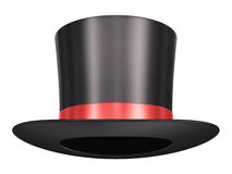 Magic hat. Black silk magic hat with red ribbon isolated on white background Royalty Free Stock Image