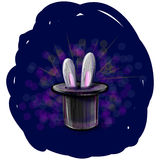 Magic hat with bunny ears Stock Image
