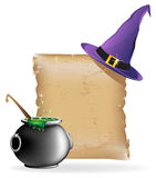 Magic hat and cauldron. Witch hat, pot of boiling potion, and the ancient scroll on white background Royalty Free Stock Photography