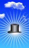 Magic hat with clouds Stock Image