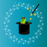 Magic hat with crocodile Royalty Free Stock Images